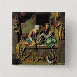 女性および魚の行商人1713年(パネルの油) 5.1CM 正方形バッジ