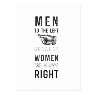 女性が正しい常にので左への人 ポストカード