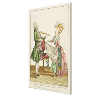 女性が踊る間、バイオリンを演奏している紳士 キャンバスプリント