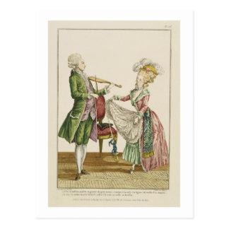 女性が踊る間、バイオリンを演奏している紳士 ポストカード