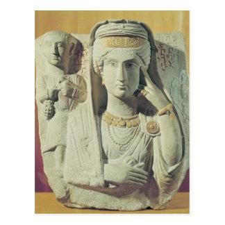 女性との葬式のレリーフ、浮き彫り ポストカード