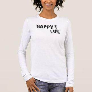 女性のおむつの生命長袖のティーw/Blackのロゴ Tシャツ