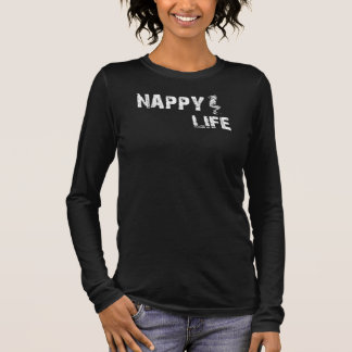 女性のおむつの生命長袖のティーw/Whiteのロゴ Tシャツ