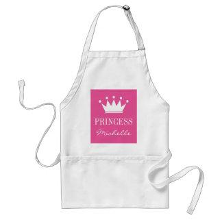 女性のための名前入りなピンクの王女の王冠のエプロン スタンダードエプロン