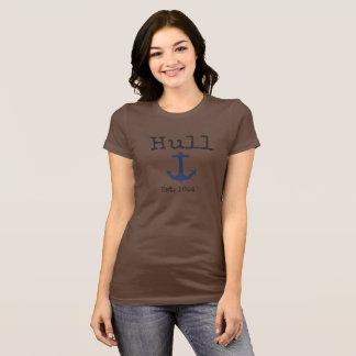 女性のための外皮マサチューセッツ茶色のワイシャツ Tシャツ