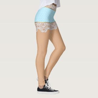 女性のための気のあるそぶりをしたで青いレースのスカート レギンス