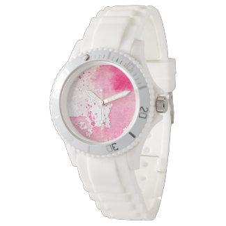 女性のための穏やかなピンクの水彩画の芸術の腕時計 リストウオッチ