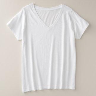 女性のとサイズのV首のTシャツ プラスサイズVネックTシャツ