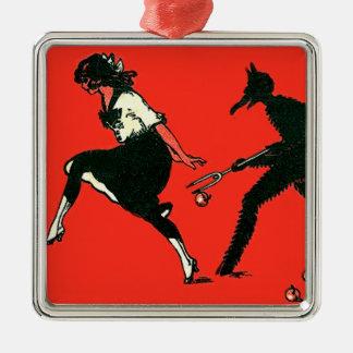 女性のりんごを追跡する赤いKrampus メタルオーナメント