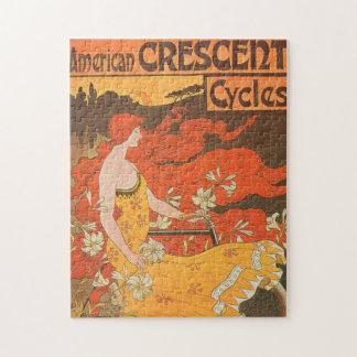 女性のアールヌーボーのアメリカの三日月形の自転車のバイク ジグソーパズル