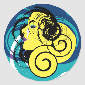 女性のイラストレーション ラウンドシール