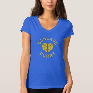 女性のオークランドはカレーのTシャツを愛します Tシャツ