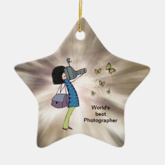 女性のカメラマンのイラストレーション-星のオーナメント セラミックオーナメント