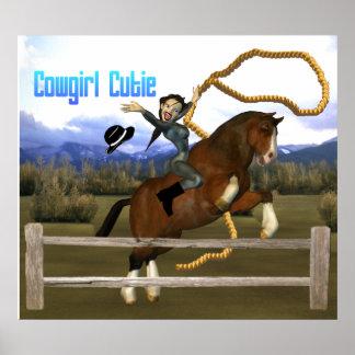 女性のカーボーイのかわいこちゃんの馬のライダーポスター ポスター