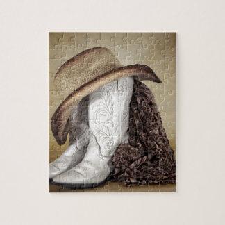 女性のカーボーイのブーツの西部のレースの帽子 パズル