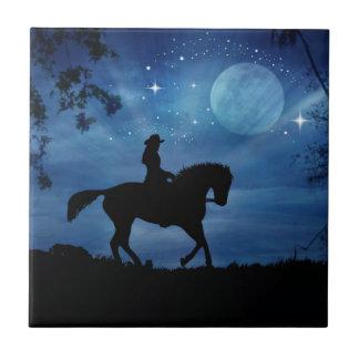 女性のカーボーイの乗馬馬の芸術のファンタジーのタイル タイル