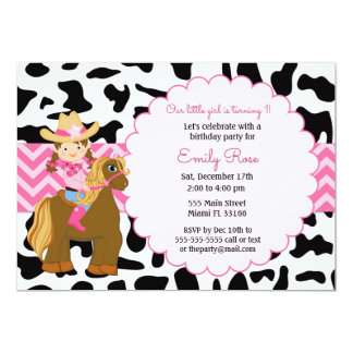 女性のカーボーイの誕生日の招待状 カード