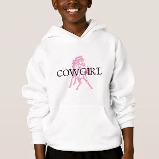 女性のカーボーイのBroncの馬(ピンクの馬版)