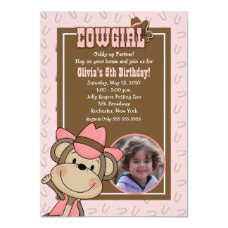 女性のカーボーイ西部猿5x7の*PHOTO*の誕生日 カード