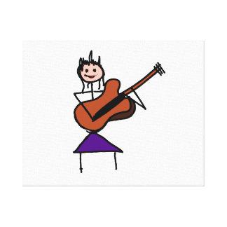 女性のギターの棒の姿の茶色wのピンクの顔 キャンバスプリント