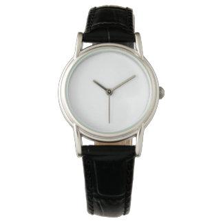 女性のクラシックで黒い革バンドの腕時計 腕時計