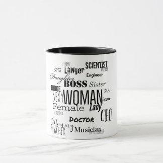 女性のコーヒー・マグ(黒及び白) マグカップ