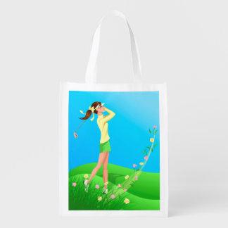 女性のゴルファーの春 エコバッグ