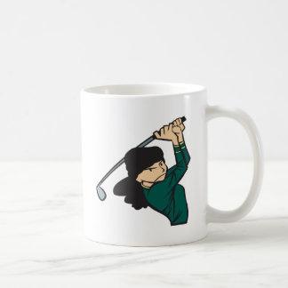 女性のゴルファー コーヒーマグカップ