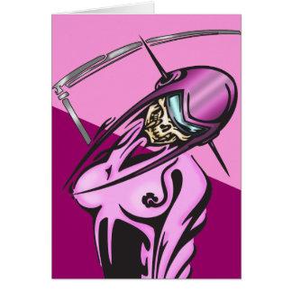 女性のサイボーグのスカルの戦士 カード