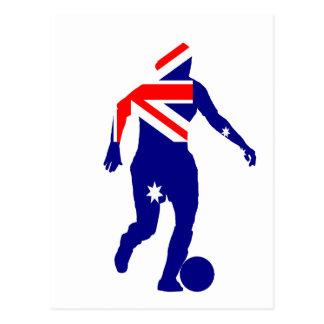 女性のサッカーオーストラリア ポストカード