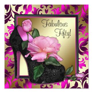 女性のショッキングピンクの第50誕生会 カード