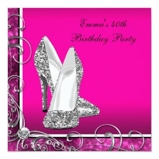 女性のショッキングピンクの誕生会 カード