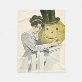 女性のジャックOのランタンのシルクハットのカボチャ フリースブランケット