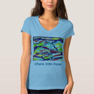 女性のジャージーのV首: 淡いブルーの型枠への無秩序 Tシャツ