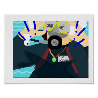 女性のスキューバダイバーは鮫を!!!!!見ます!! ポスター
