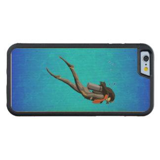 女性のスキューバダイビング CarvedメープルiPhone 6バンパーケース