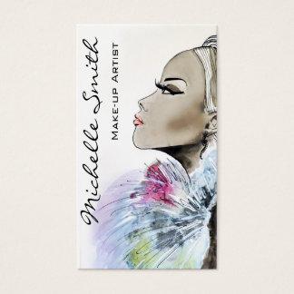 女性のスケッチのメーキャップアーティストの名刺のデザイン 名刺
