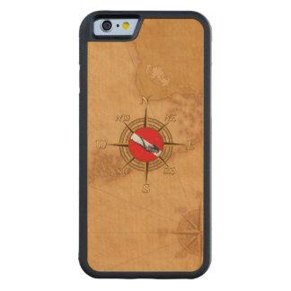 女性のダイバーおよびコンパス CarvedメープルiPhone 6バンパーケース