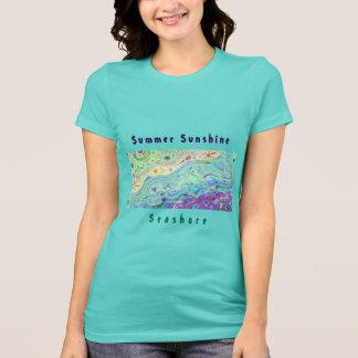女性のティール(緑がかった色)のTシャツ: 海岸の芸術/文字 Tシャツ