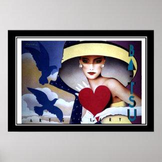女性のハートのアールデコポスター ポスター