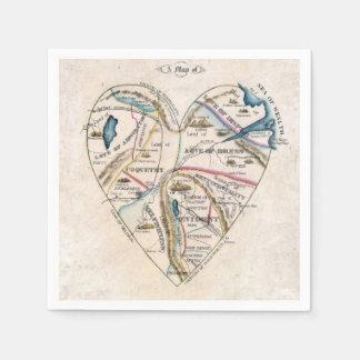 女性のハートのヴィンテージの地図 スタンダードカクテルナプキン