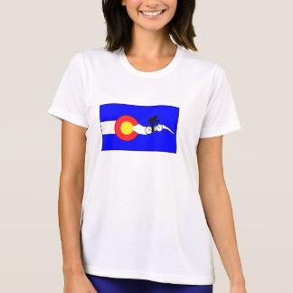 女性のバイクのコロラド州の旗のTシャツ Tシャツ