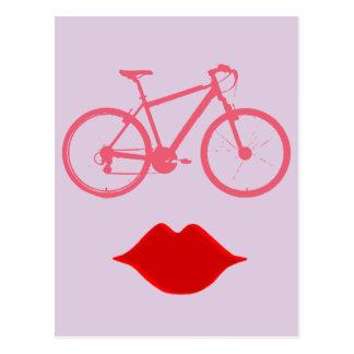 女性のバイクの口 ポストカード