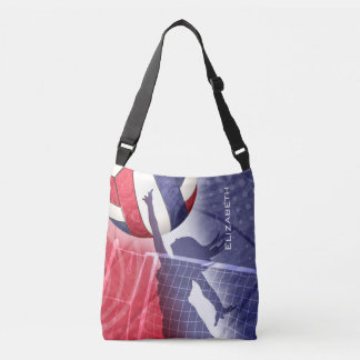 女性のバレーボールの赤白青 クロスボディトートバッグ