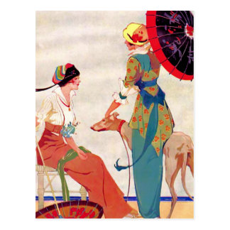 女性のパラソルおよびグレイハウンド ポストカード