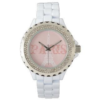 女性のパリエッフェル塔のピンクの腕時計のギフト 腕時計