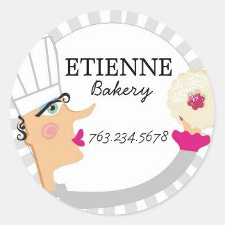 女性のパン屋のペーストリー作りの職人のクッキーのギフトのラベルのステッカー ラウンドシール