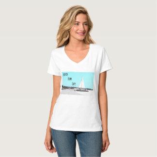 女性のビーチののらくら者の生命HanesのNano V首のTシャツ Tシャツ