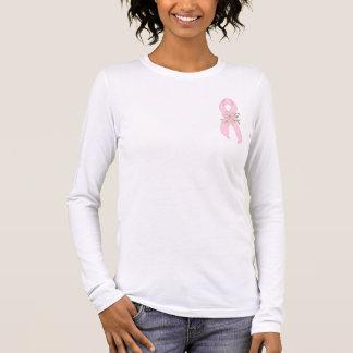 女性のピンクのリボンのワイシャツ 長袖Tシャツ