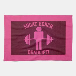 女性のピンクの重量挙げの体育館タオル キッチンタオル
